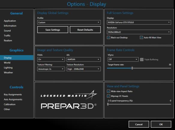 Prepar3D Settings